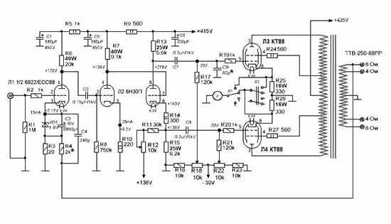 Схема лампового усилителя на